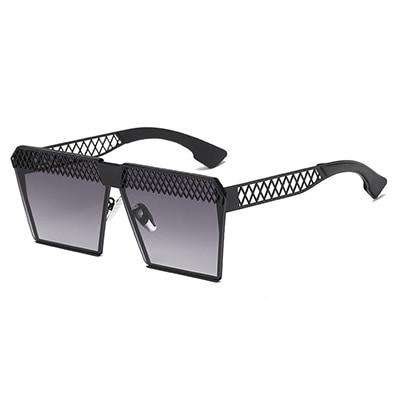 Square Hollow Out Frame Polarised Vintage Flat UV Sunglasses