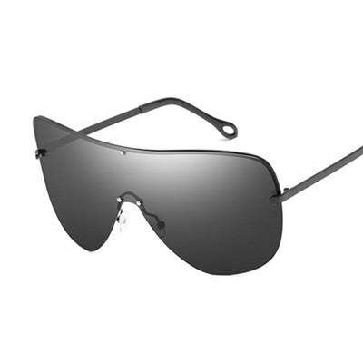 Unisex Polarised Oversized Semi-Rimless Pilot Big Frame Designer Luxury Sunglasses