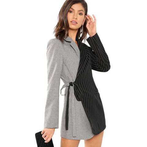 Colour Block Tie Waist Surplice Wrap Notched Long Coat Blazer