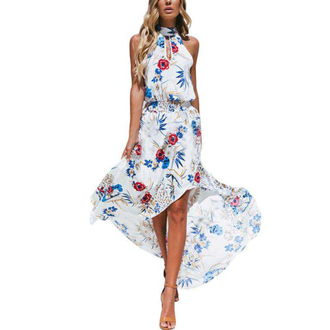 Halter High Split Long Floral Print Sleeveless Tunic Dress