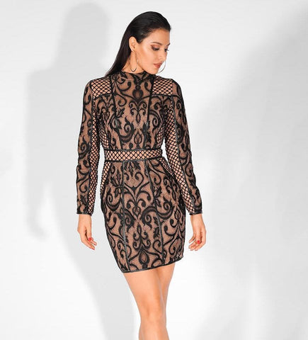 Black Stand-Up Collar Lace Stitching Slim Long-Sleeved Dress