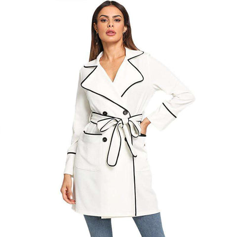 Turn-down Collar White Contrast Binding Self Belted Surplice Wrap Notched Trench Coat