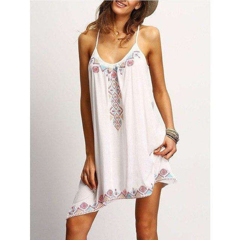 Spaghetti Strap Floral Print Sleeveless Mini Dress