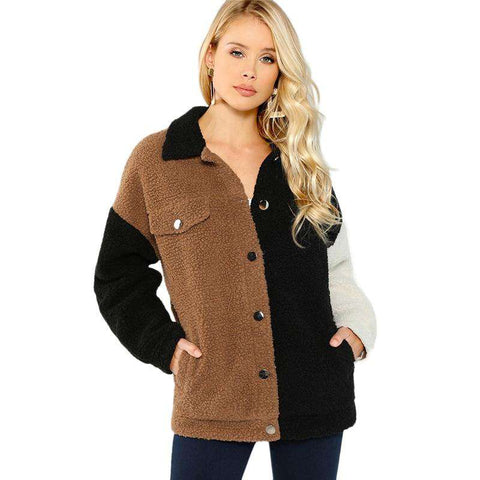 Khaki Button Up Flap Pocket Teddy Long Sleeve Patchwork Coats