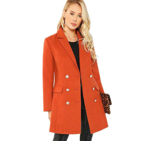 Long Sleeve Double Breasted Notched Neck Solid Long Coat