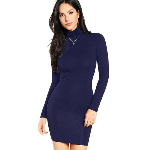 Blue Turtleneck Form Fitting Long Sleeve Slim Mini Pencil Dress