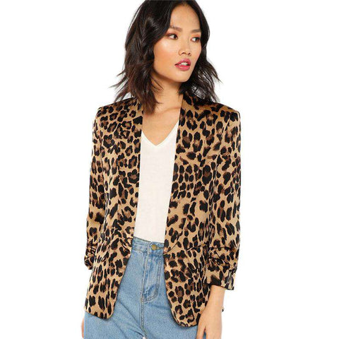 Multicolour Shawl Collar Gathered 3/4 Sleeve Leopard Blazer