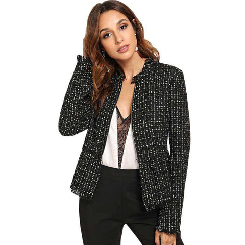 Black Zip Up Hem Peplum Tweed Jacket