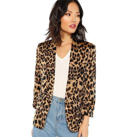 Shawl Collar Gathered Sleeve Leopard Blazer Jacket