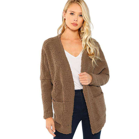 Brown Open Front Faux Fur Teddy Long Jacket Coat