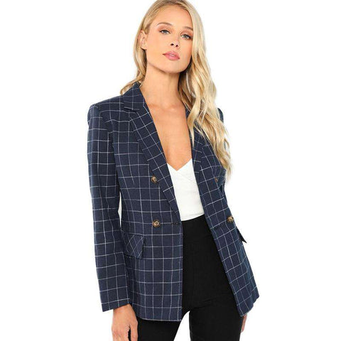 Navy Double Breasted Notched Neck Plaid Long Sleeve Coat Blazer