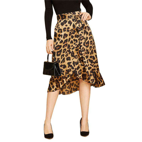 Asymmetric Ruffle Hem Leopard High Waist Wrap Belted Midi Skirt