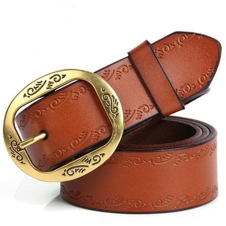 Genuine Leather Vintage Metal Pin Buckle Wide Belt