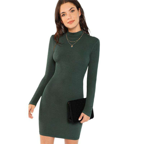 Green Form Fitting Ribbed Knit High Neck Long Sleeve Mini Dress