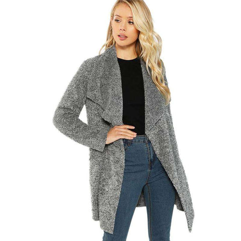 Grey Waterfall Collar Warm Long Outerwear