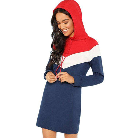 Colour Block Hooded Spring Fall Long Sleeve Multicolour Shift Sweatshirt Short Dress