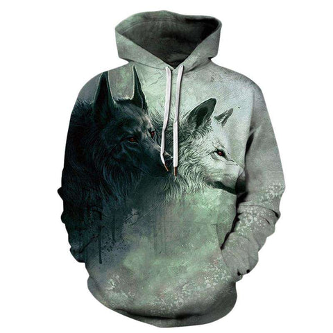 3D Wolf Print Hooded Long Sleeve Green Animal Drawstring Pullovers Sweatshirt