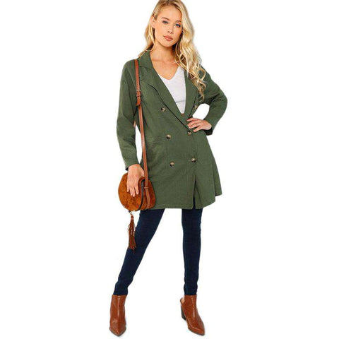 Army Green Button & Pocket Up Notched Neck Blazer