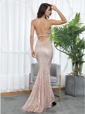 Open Back V-Neck Elastic Sequins Long Dress