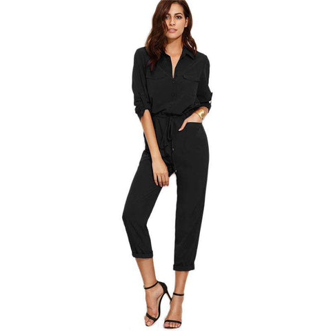Tie Waist Rolled Sleeve Black Jumpsuit