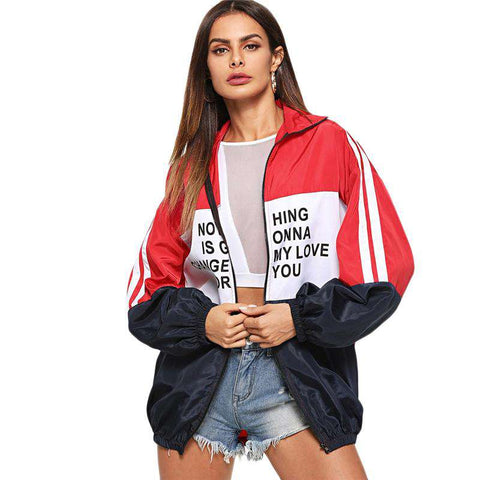 Zip Up Colour Block Letter Print Turn-down Collar Multicolour Coat Jacket