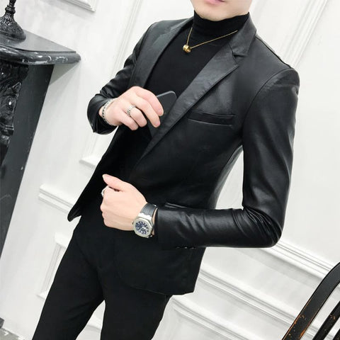 Black Slim Fit PU Leather One Button Blazer
