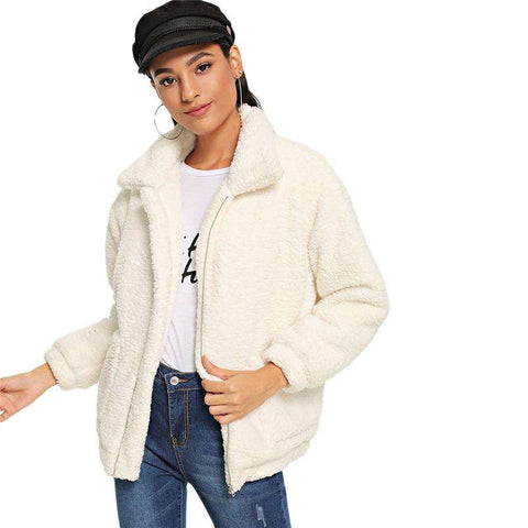 White Zipper Turn-down Collar Long Sleeve Solid Teddy Jacket Coat