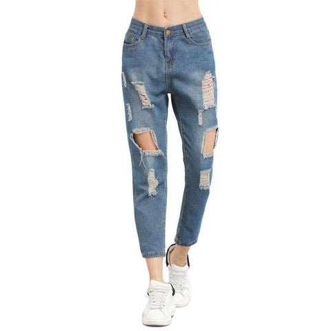 Blue Ripped Distressed Boyfriend Ankle Straight Leg Denim Jeans