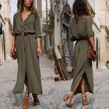 Maxi Tunic Long Sleeve Button Up Split Shirt Dress