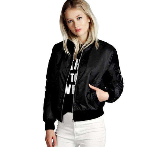 Long Sleeve Zipper Up Short Bomber Jackets With Pockets