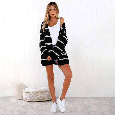 Long Sleeve Striped Knitted Loose Cardigan Sweater