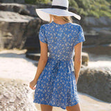 Floral Deep V Short Sleeve Sundress Mini Dress