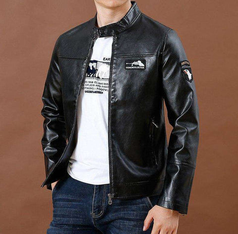 Pu Leather Slim Fit Leather Jacket