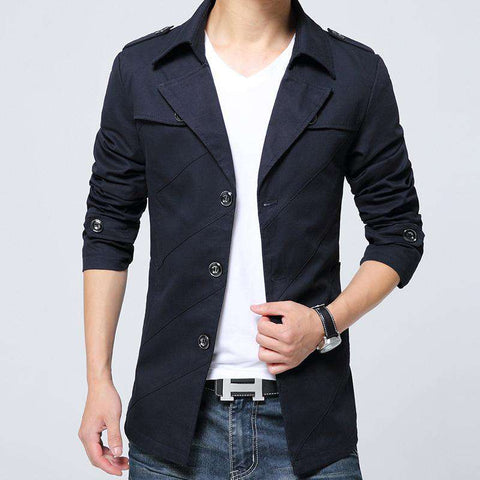 Turn-down Collar Single Breasted Cotton Slim Fit Trench Coat