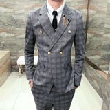 Swallow Check Gold Button Slim Fit Suit (Jacket + Vest + Pant)