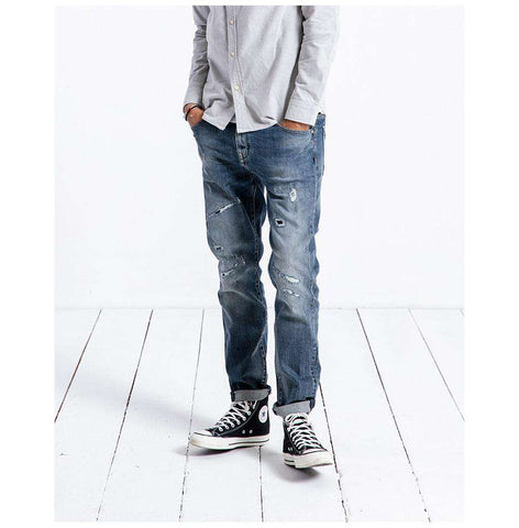 Slim Hole Denim Pencil Jeans Pants