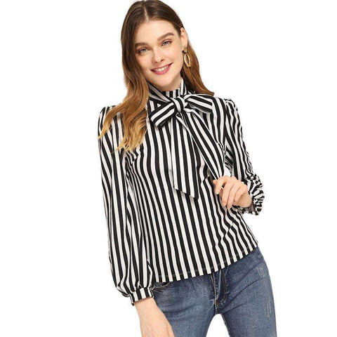 Black and White Stand Collar Tie Neck Striped Top Minimalist Blouses