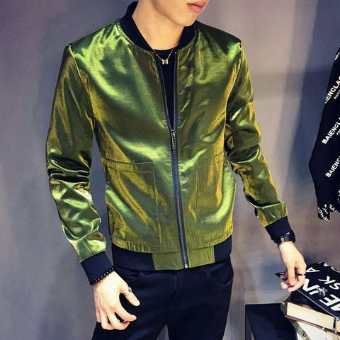 Shinny Black Blue Silver Green Slim Fit  BomberJacket