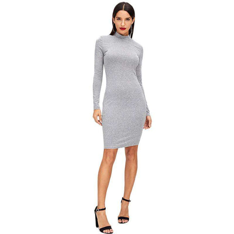Grey Mock Neck Pencil Mini Dress