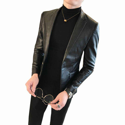 One Button PU Slim Fit Black Blazers