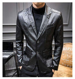 Turn-down Collar Single Breasted Leather Jacket