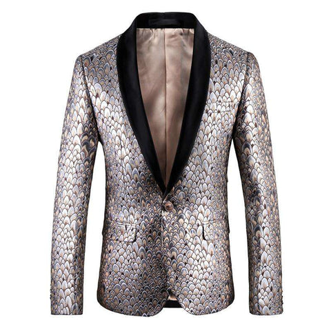 Gold Pea Cock Pattern Slim Fit Black Collar Blazer