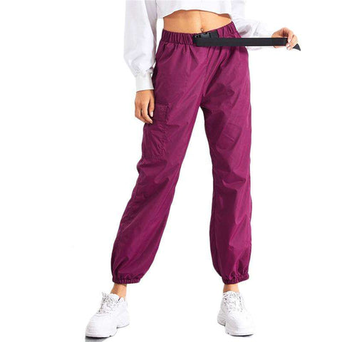 Purple Belted Pocket Side Elastic Drawstring Waist Trousers Sweatpants