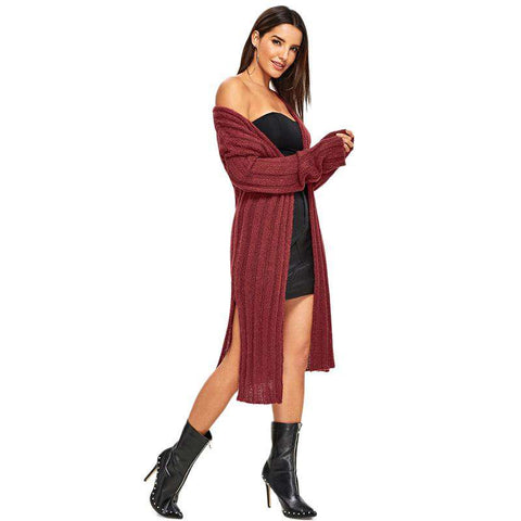 Burgundy Long Sleeve Slit Side Longline Cardigan Sweaters