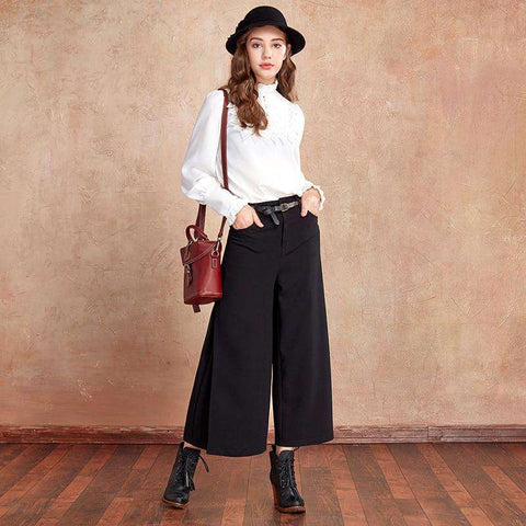 Three-dimensional Cut Pleated High Waist Elegant Calf-length Wide Leg Pants