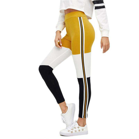 Striped Wide Waistband Colour Block Leggings