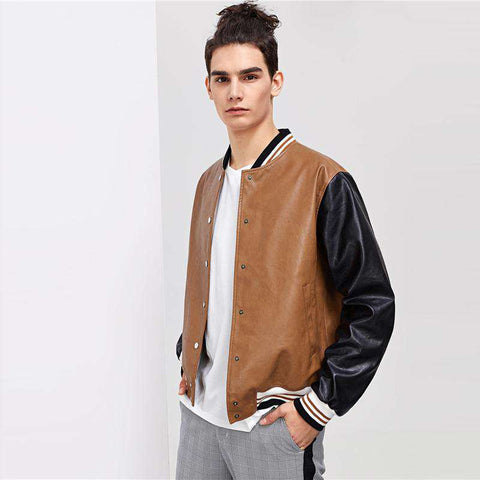 Single Breasted Multicolour Press Button Up Stand Collar PU Bomber Jacket