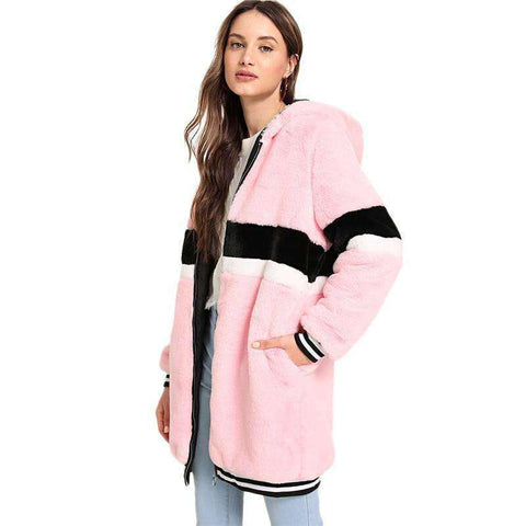 Pink Zip Up Striped Faux Fur Hooded Long Sleeve Teddy Coat
