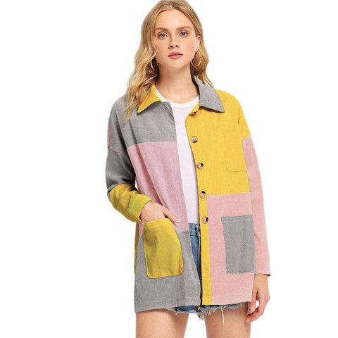 Color-Block Pocket Corduroy Single Breasted Outerwear Coat