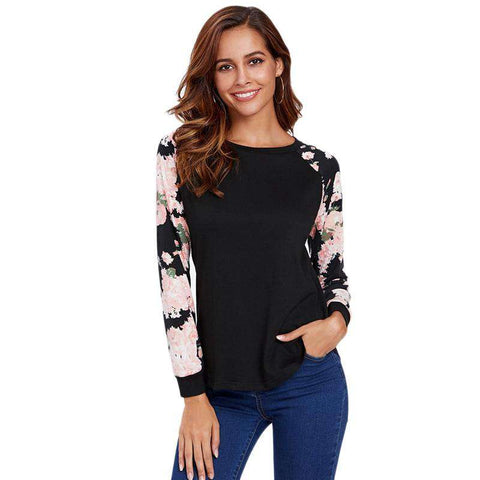 Black Floral Raglan Sleeve Long Sleeve Tops Pullovers Tee